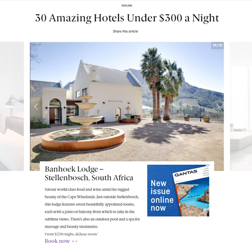 ACCOMMODATION IN BANHOEK VALLEY, STELLENBOSCH​